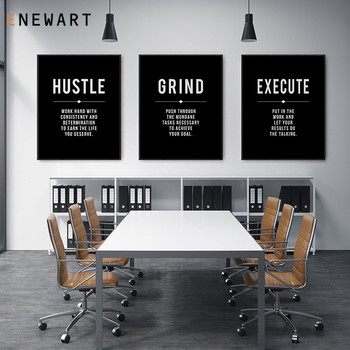 Office Decor Hustle Poster Work Hard Inspirational Quotes Wall Art Motivational Print Entrepreneur Gift Canvas Painting Picture image