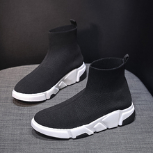Sneakers Women Men Knit Upper Breathable Sport Shoes Sock Boots Woman Chunky High Top Running For