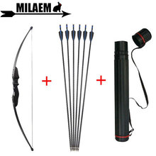 30/40lbs Archery Recurve Bow And Arrow Set Black 31.5inch Carbon Quiver RH/LH Hunting Shooting Accessories