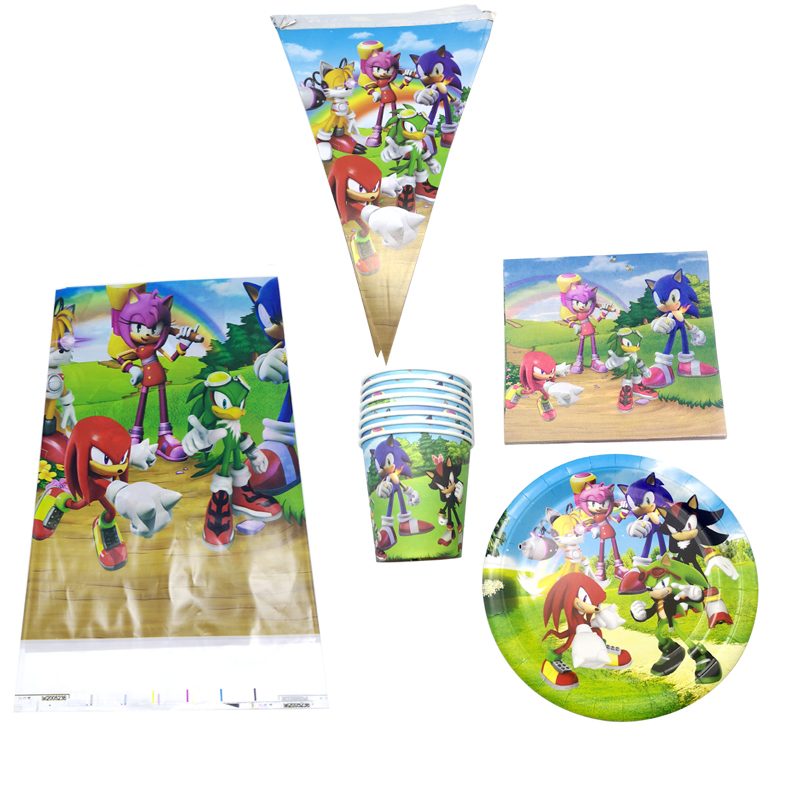 51pcs/lot Sonic The Hedgehog Theme Banner Baby Shower Tablecloth Plates Cups Decorate Boys Favors Dishes Birthday Party Napkins
