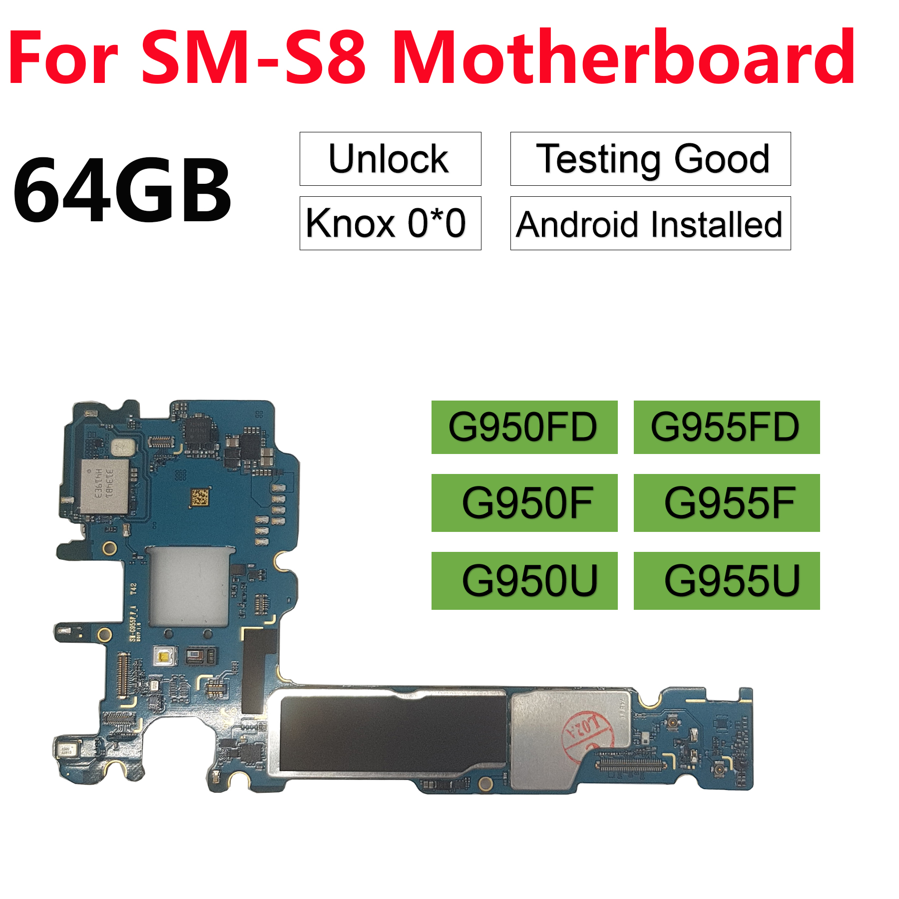 BINYEAE Original Unlocked Main Motherboard For Samsung Galaxy S8 Plus G955F G955FD S8 G950F G950U G950FD Unlock 64GB Motherboard
