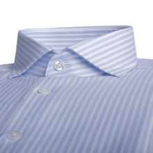 Men Shirts Luxury Custom 80s Cotton 2-Ply Wrinkle-Resistant Tailored Blue-Striped