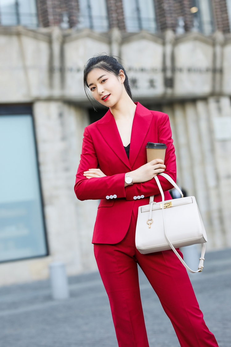 JRHYME Stylish RED Womens Suits Blazer With Pant,Long Sleeves Casual Blazer Pants Set Feminino,Formal Business Suits Set Mujer