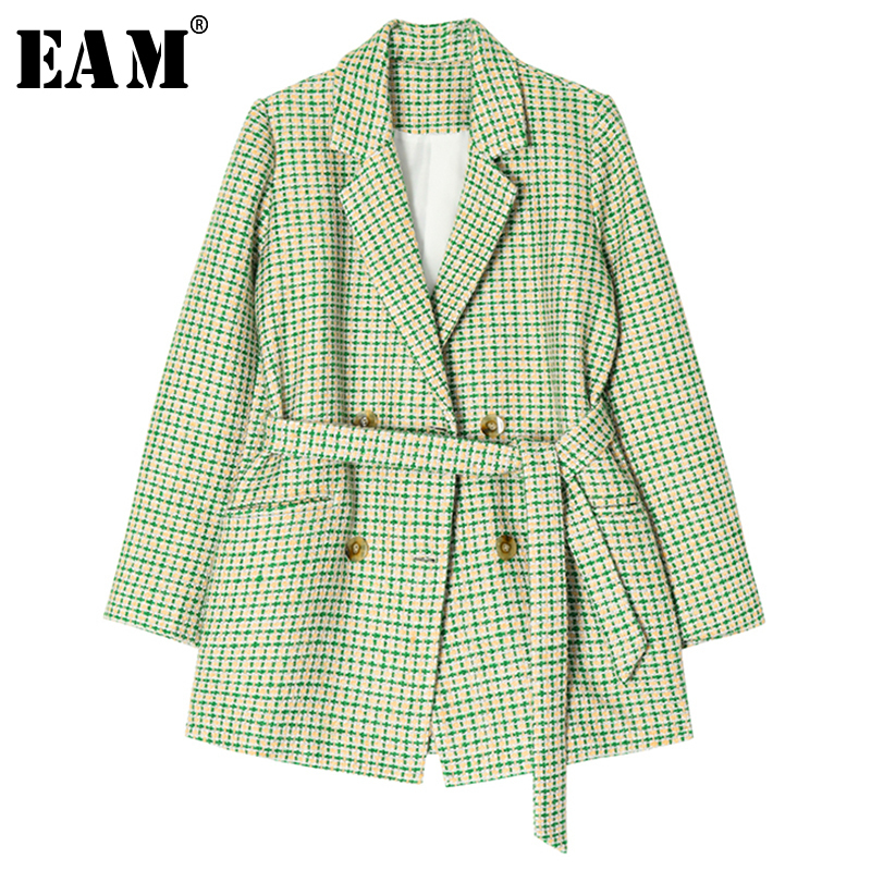 [EAM]  Women Green Plaid Waist Tweed Blazer New Lapel Long Sleeve Loose Fit  Jacket Fashion Tide Spring Autumn 2019 1B535