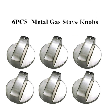 6Pcs Universal Metal Gas Stove Knobs Cooker Oven Hob Kitchen Switch Control Metal Silver Gas Stove Cooker Knobs Adaptors Switch brushed metal gas stove knobs cooker control switch range oven knobs cooktop burner knob gas hob switch kitchen replacement