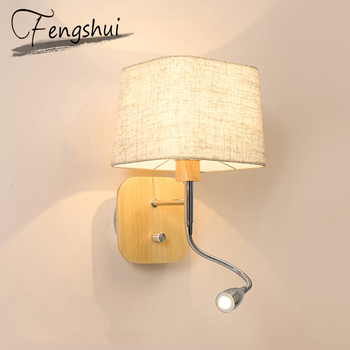 Modern Wood LED Wall Lamps For Reading Cloth Sconces Lamp Shade Bedroom Bedside Corridor Aisle Study Office Wall Light Fixture