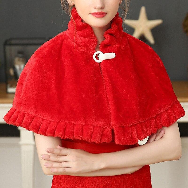 YULUOSHA Spring Autumn Bride Shawl Wedding Dress Imitation Rabbit Fur Shawl Wedding Warm Vest Coat Faux Fur Elegant Bridal Wraps
