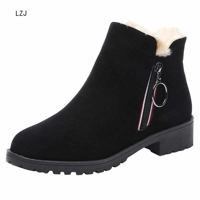 LZJ nouveau 2020 femmes couleur unie carré talons hauts Zipper daim chaud bottes de neige tête ronde daim côté avec des bottes de neige 2019