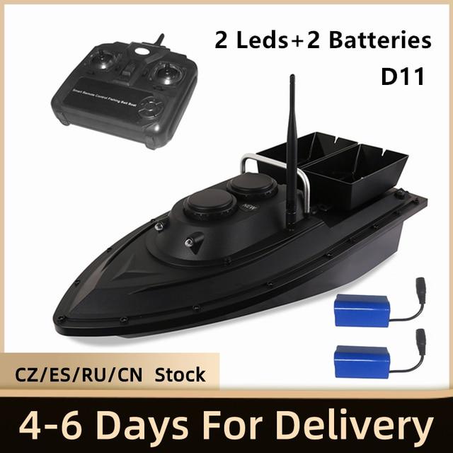 D11 RC Barco de cebo buscador de pesca, 1,5 kg de carga, 500m, Control remoto, doble motor, 2 luces Led, herramientas de pesca de velocidad fija