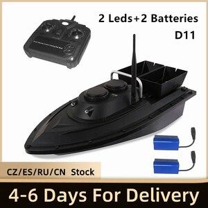 Image 1 - D11 RC appât bateau chercheur de pêche 1.5kg chargement 500m télécommande bateau Double moteurs 2 lumières Led vitesse fixe outils de pêche