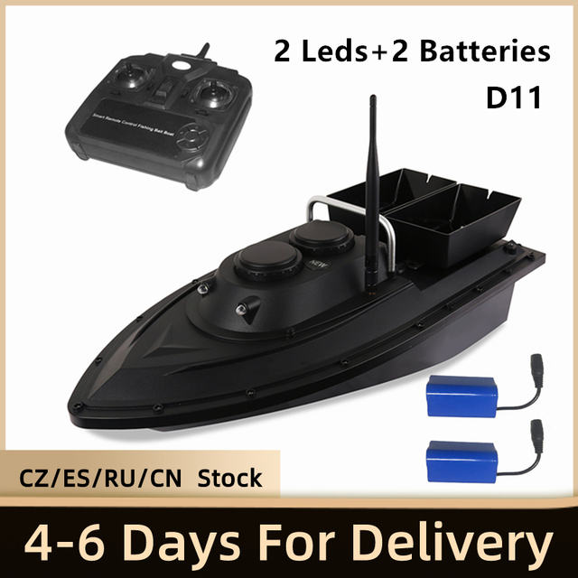 D11 RC appât bateau chercheur de pêche 1.5kg chargement 500m télécommande bateau Double moteurs 2 lumières Led vitesse fixe outils de pêche