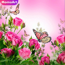 MomoArt Diamond Embroidery Flowers Butterfly Painting Full Drill Square Home Decor Accessories