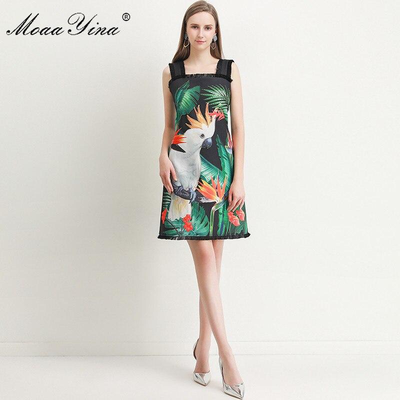 Image 4 - MoaaYina Fashion Designer dress Spring Summer Womens Dress Green  leaf Parrot Print Beading Spaghetti strap DressesDresses   -