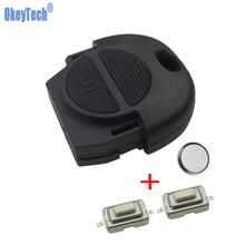 Okeytech substituição remoto chave capa caso fob 2 botões com 2 pçs switches & bateria para nissan micra almera primera x-trail