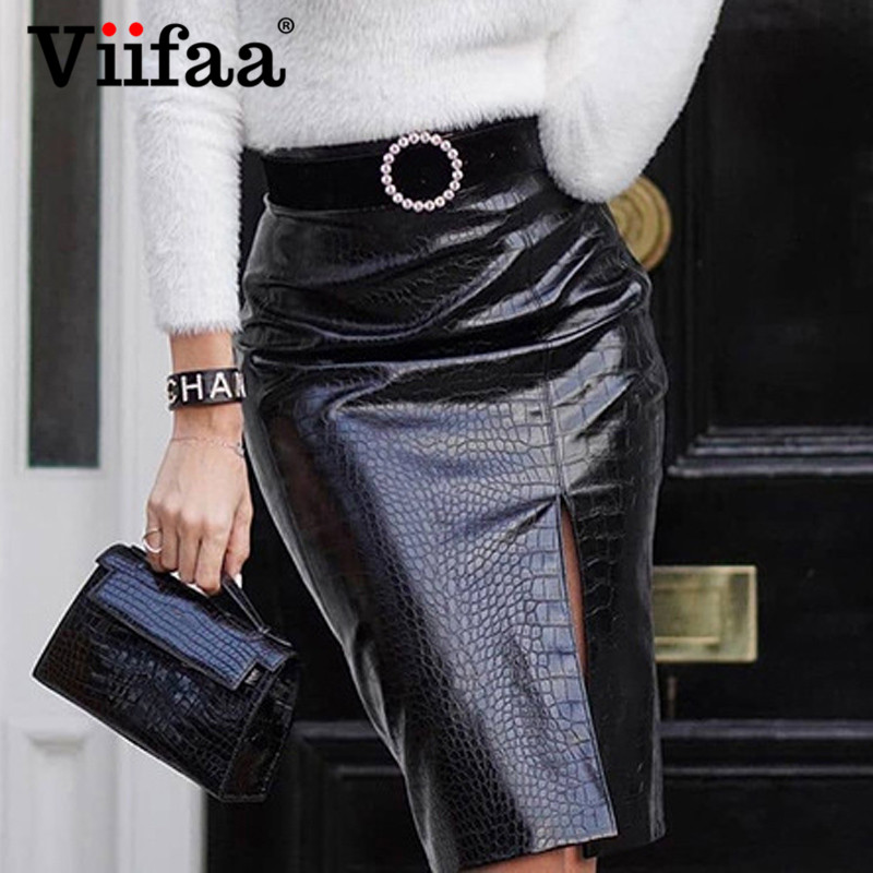 Viifaa Black Crocodile Pattern PU Leather High Waist Elegant Split Skirts Womens Autumn Office Lady Bodycon Pencil Skirt