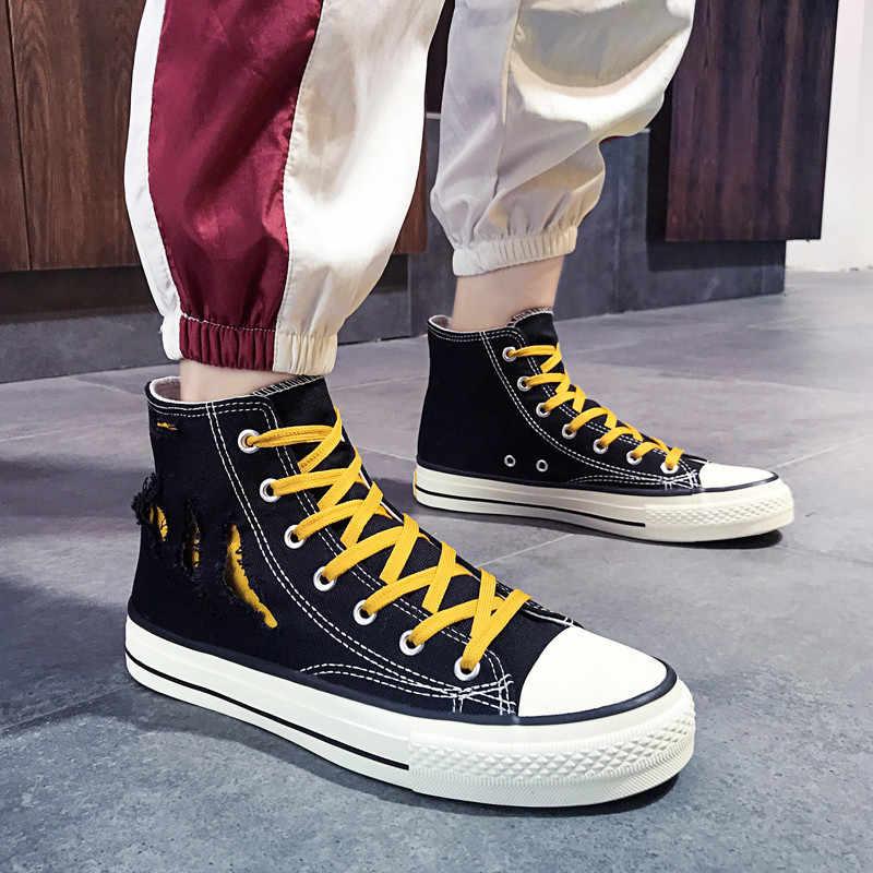 Желтые высокие кроссовки парусиновые мужские классические парусиновые туфли со шнуровкой мужские кроссовки 2019 модные трендовые уличные мужские туфли в стиле хип-хоп в стиле панк