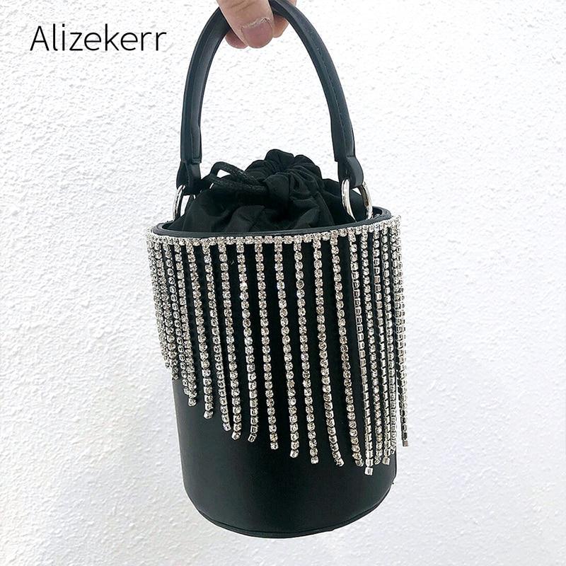 Shiny Rhinestone Tassel Handbag Women 2020 String Silver Diamonds Dinner Party Purses Ladies Fashion Small Bucket Shoulder Bag