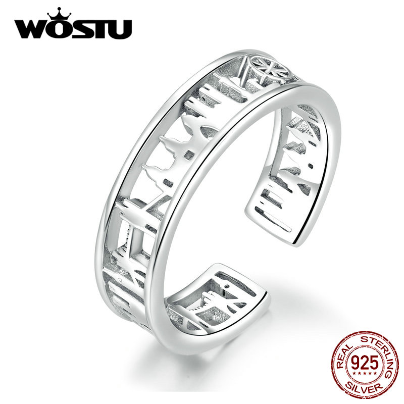 WOSTU New Fashion 925 Sterling Silver London City Vintage Rings For Women Adjustable Rings Finger Wedding Party Jewelry CQR606
