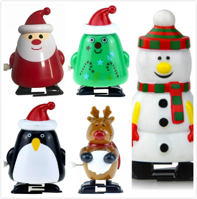 Christmas Decor Gift Funny Wind Up Toys Kids Christmas Clockwork Gift Wind Up Santa Claus Bounce Toy Children Educational Toys