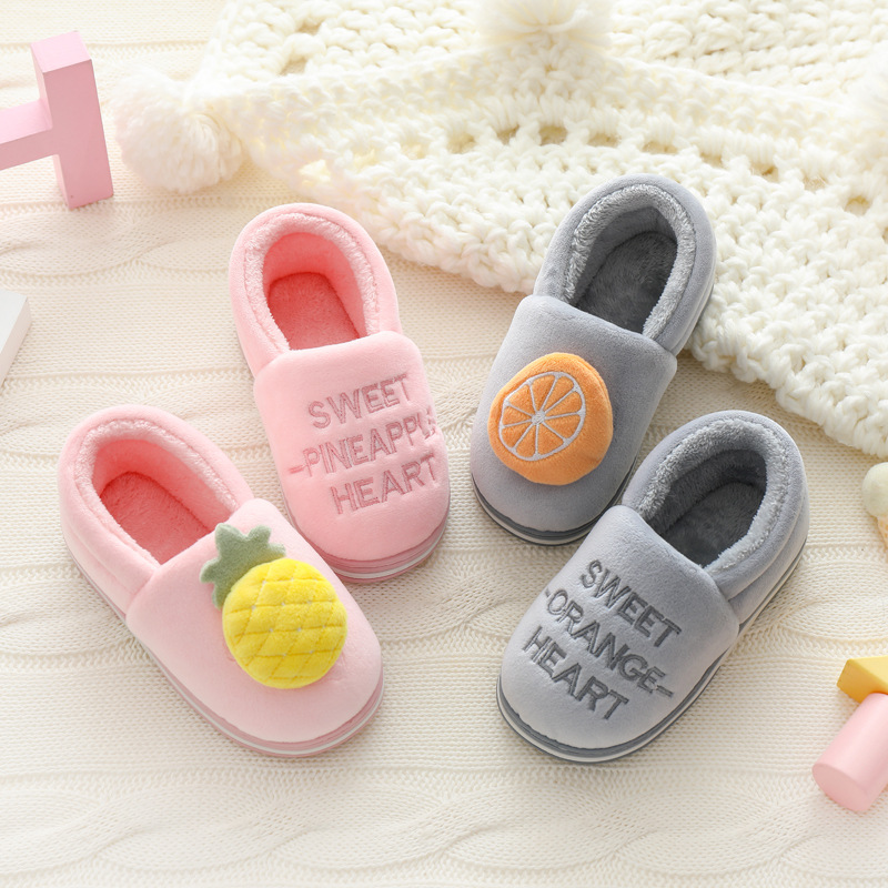 2019 Winter Fruit Kids Slippers For Girls Lovely Home Children's Shoes Baby Slippers Indoor House Casual Flats Boys Flip Flops
