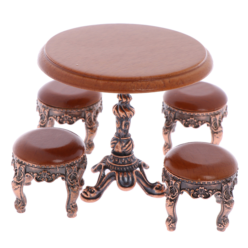 1/12 Wood Dollhouse Miniature Wooden Furniture Miniature Round Wooden Coffe Stool/table 2019 New