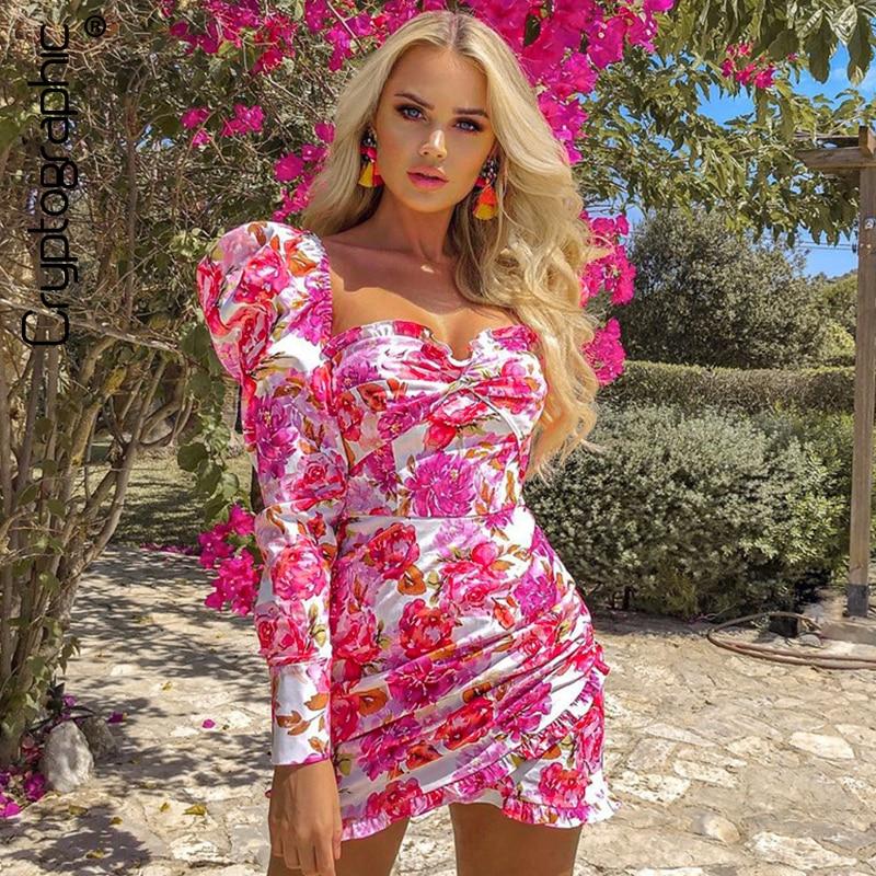 Cryptographic Elegant Women Floral Dresses Backless Long Sleeve Anomalistic Hem Fall 2019 Wrap Dresses Vintage Pink Dresses Lady