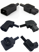Dirsek siyah 10A 250V IEC320-C13 / C14 şasi AC güç kablosu adaptör fişi erkek ve dişi pil içermeyen kaynak soket dönüştürücü