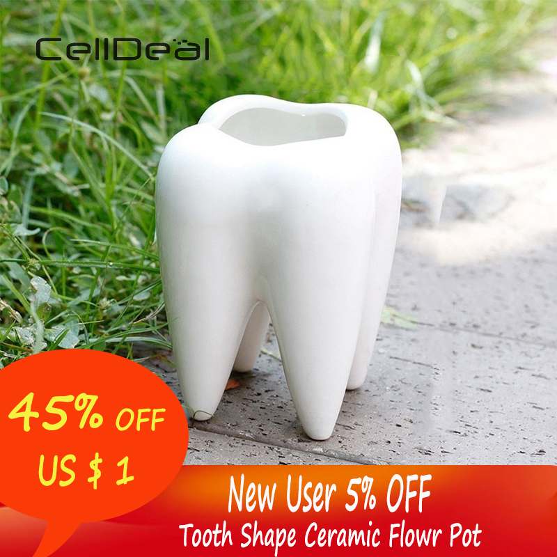 No Plant Or Hole Cute Tooth Shape Solid And Durable Corrosion-resistant Ceramic Flowr Pot Garden Bonsai Planting Length 6.8CM