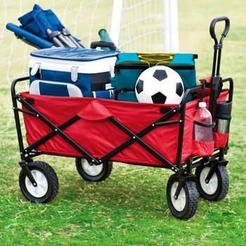 Składany wózek ogrodowy wózek na narzędzia wózek na 4 koła czerwony składany Transport metalowy wózek stalowy na plażę wyjścia ogrodowe HWC tanie i dobre opinie CN (pochodzenie) 80KG