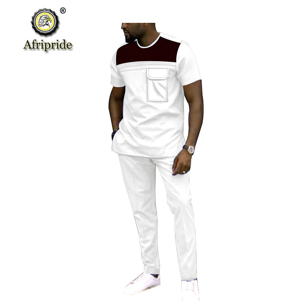 2019 Men`s 2 Piece Set African Dashiki Tracksuit Short Sleeve Blouse Tops and Pants Set Plus Size Wax Wear AFRIPRIDE S1916040