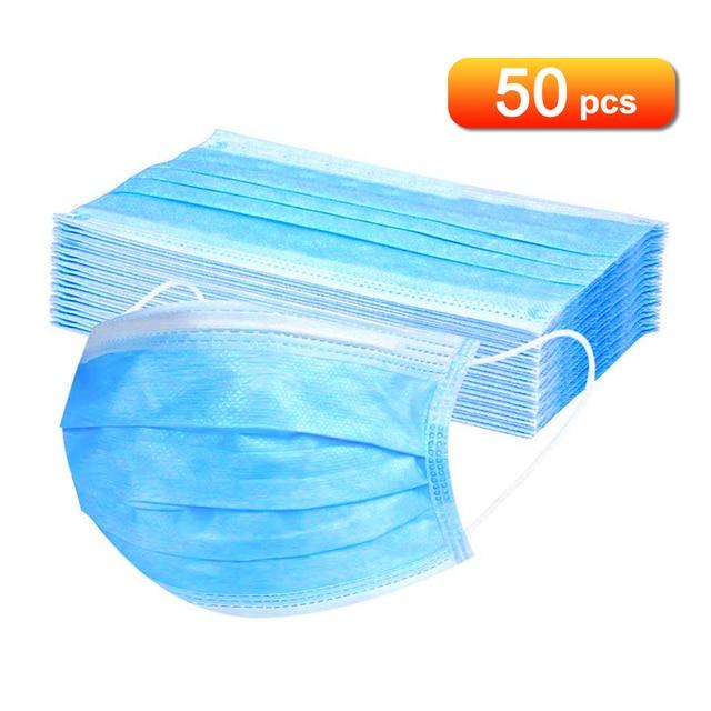50pcs mask Disposable Mask Non woven Fiber Fabric Breathable Face Mouth Mask
