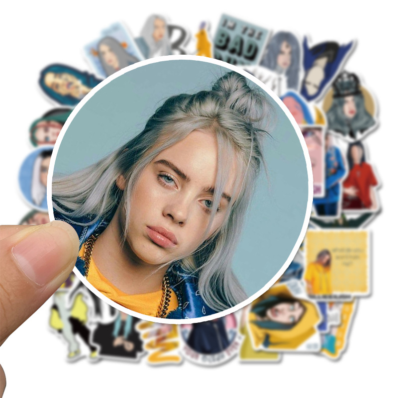 50PCS Billie Eilish Sticker Lovely Cartoon For Suitcase Laptop Skateboard Styling Phone Luggage Decals Toy Stickers F4