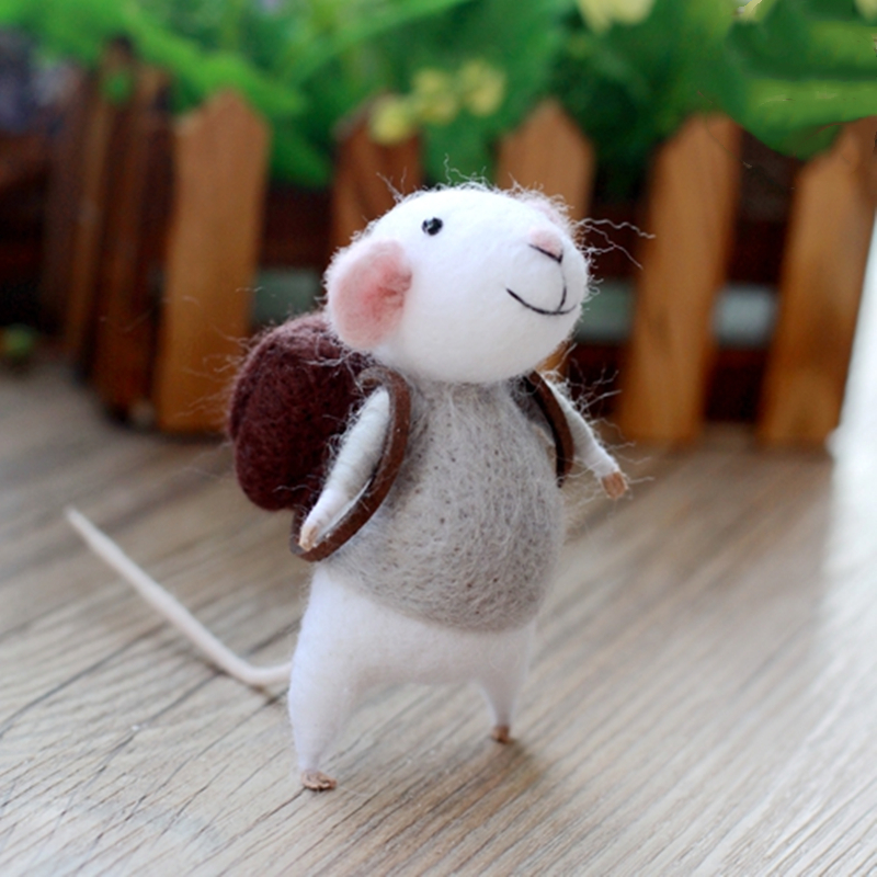 Wool Felt Poking Needle Felt Handmade Diy Material Package Needle Poke Kits Plush Mouse Wool Animal Toy Non-Finished Girl Gift