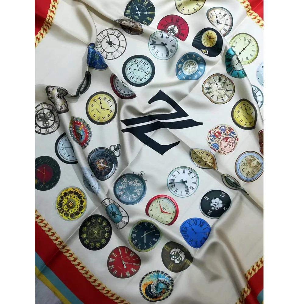 Clocks Print 100% Twill Silk Scarf Shawl Wraps 35