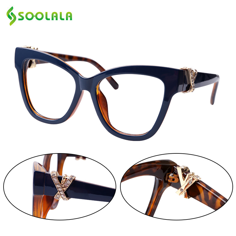 SOOLALA Cat Reading Glasses Women With Crossed Rhinestone Large Eyeglass Frame Lesebrille Reader Prescription Glasses 0.5 To 4.0