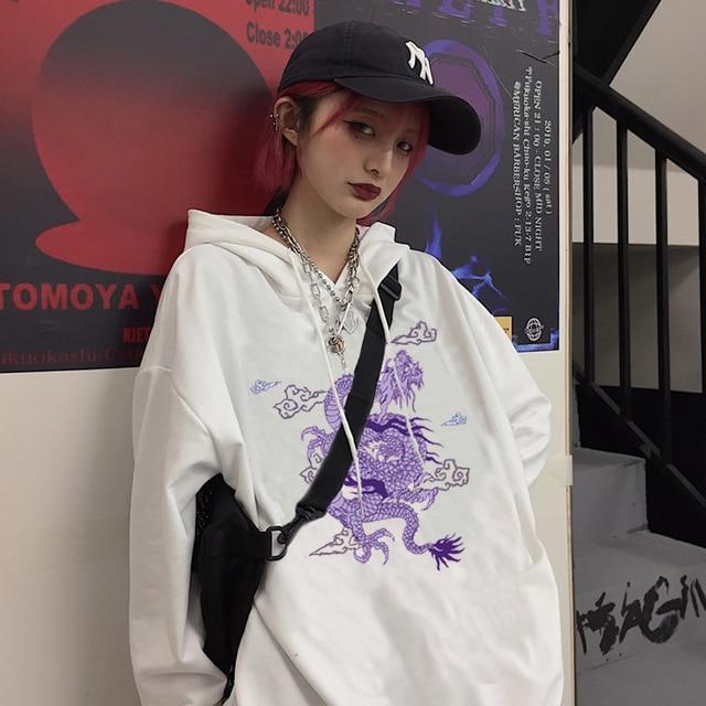 hoodies women Gothic Dragon Print kpop velvet now united Hoodie clothes moletom Vintage aesthetic ropa mujer Sweatshirts