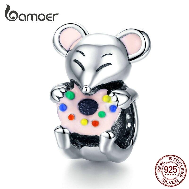Bamoer ratón avarious Animal Metal Charm 925 Plata Original Donuts Charms fit mujer pulsera brazalete chica regalos Bijoux SCC1318