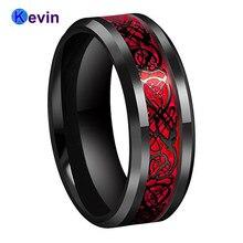Черное мужское обручальное кольцо с драконом кольцо из карбида вольфрама с красным опалом и черной инкрустацией дракона