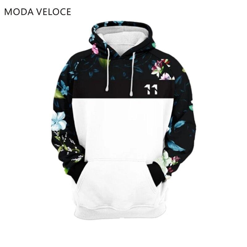 MODAVELOCE Dark Floral Hoodie Polyester With Wool Sweatshirt Men Cotton Anime's Hoodie Hip Hop Street Wear