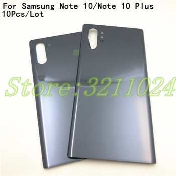 10Pcs Note10 Glass Back Battery Cover For Samsung Galaxy Note 10 N970 Note10+ Note 10 Plus N975 Back Rear Glass Case + Adhesive