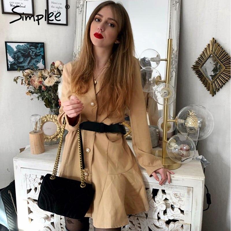 Simplee A-line Ruffled Women Blazer Dress Elegant Ruffled Button Female Work Short Dress Lapel Soft Office Sleeve Ladies Dress