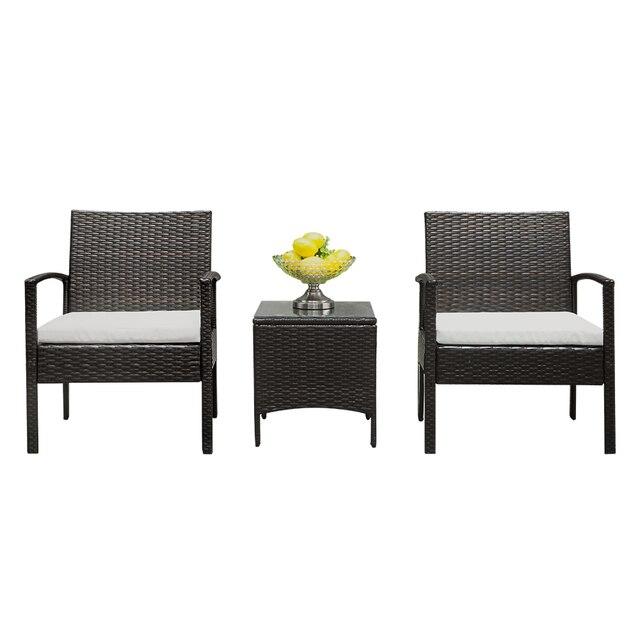 2pcs Arm Chairs 1pc Coffee Table Rattan Sofa Set Brown Gradient 4