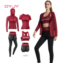 Jogging-Sets Fitness Clothing Sports-Suit Training-Workout Outdoor Running Women 5pieces