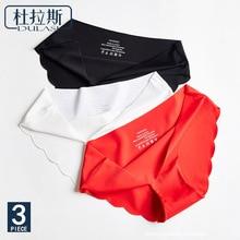 3pcs/lot Sexy Hot Sale Seamless Ice  Silk Woman Panties Fashion Intimates Low Waist Big Size Underwear DULASI