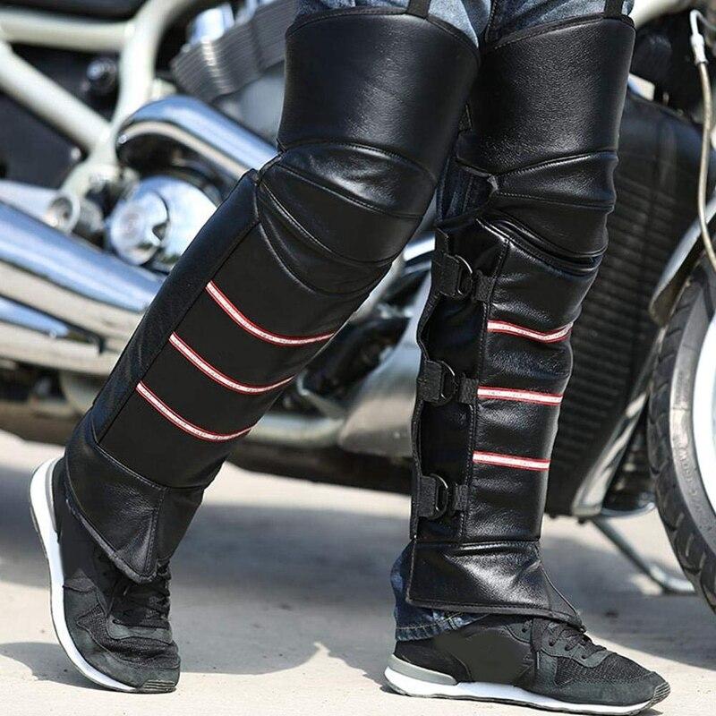 Motosiklet bisiklet koruyucu diz pedleri  PU deri rüzgar geçirmez erkek bacak körüğü ayarlanabilir kayış sıcak tayt kapakları motosiklet binmek title=