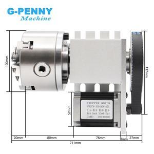 Image 2 - Cabezal divisorio CNC de 4 mandíbulas, 100mm, eje de rotación + 4 ejes, kit de eje A para Mini enrutador CNC/grabado en madera