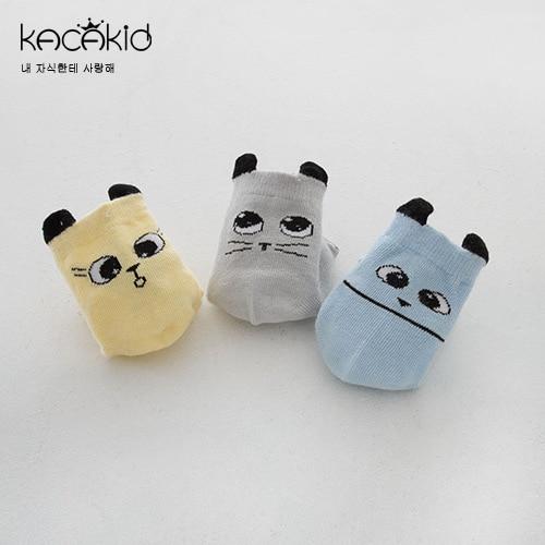 Kacakid Spring And Autumn New Style Children's Socks Men And Women Baby Cotton Socks With Big Eye Cat Ear Short Socks Infants Sl