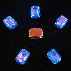 Image 4 - Hình Chữ Nhật Vàng Móng Vuốt Cài Đặt 20 Cái/gói 13X18Mm Jelly Candy & AB Màu Sắc Kính Pha Lê May Trên kim Cương Giả Váy Cưới Diy