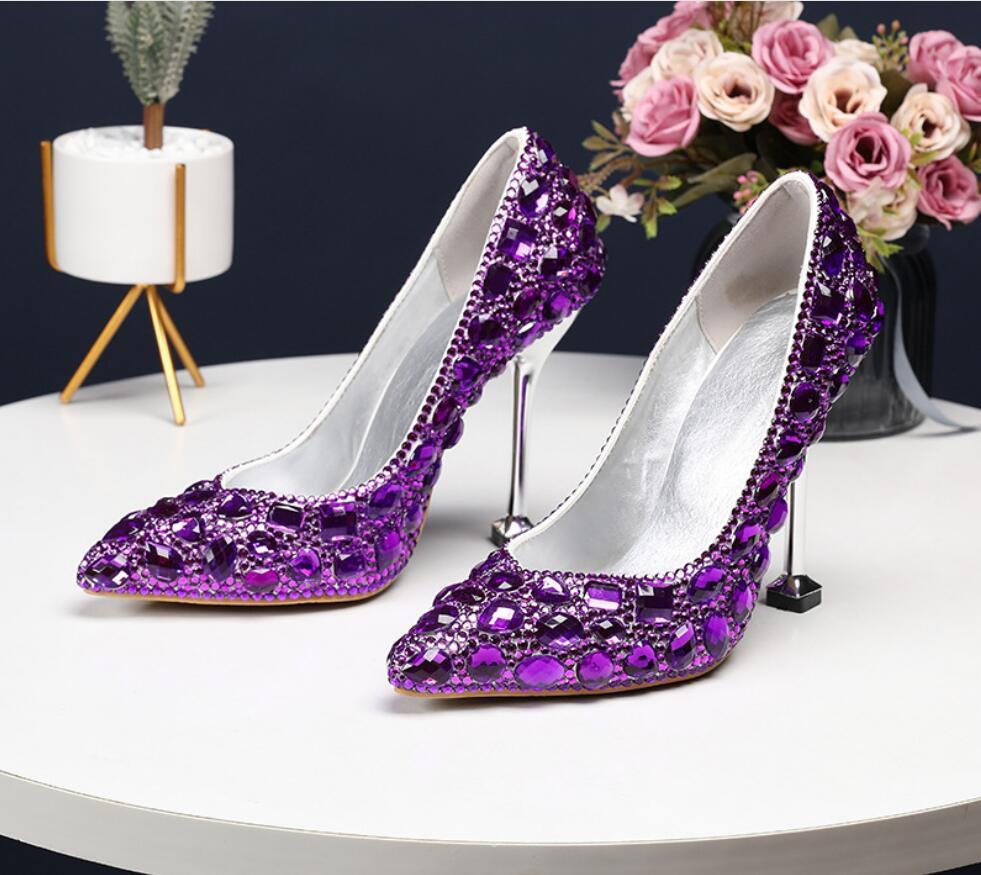 5 Color 2019 HOT Wedding Shoes Pumps High Heel 11CM Bridal Shoes Rhinestones Princess Pumps Show Slim Female Shoes Women Pumps