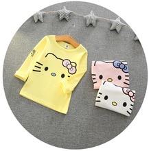 Одежда для малышей футболка с длинными рукавами и рисунком «hello kitty» для девочек комплекты одежды для детей Верхняя одежда для девочек детское осеннее нижнее белье